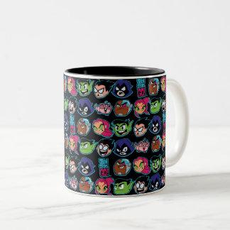 Teen Titans Go! | Titans Head Pattern Two-Tone Coffee Mug