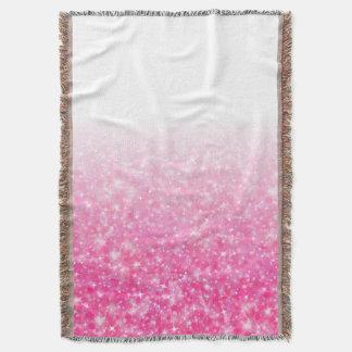 Teen Tween Girls Sparkly Pink Glitter Ombre Throw Blanket