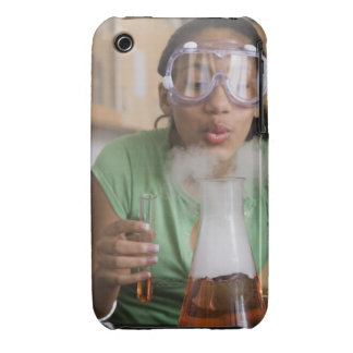 Teenage girl performing science experiment iPhone 3 Case-Mate case