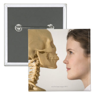 Teenage girl with skeleton 2 inch square button
