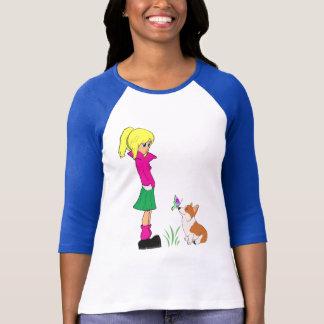 Teenage Girl with Welsh Corgi Cartoon T-Shirt
