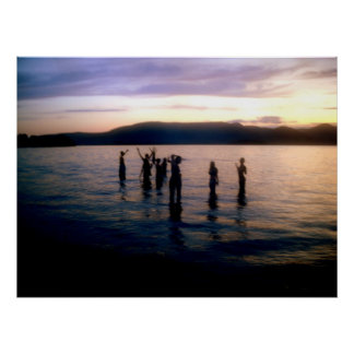 Teenage Swim at Sunset Poster