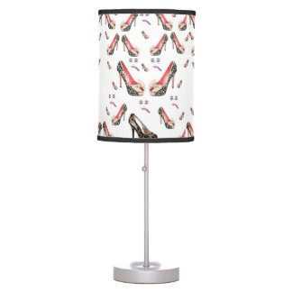 teenagers red leopard shoes white lamp shade