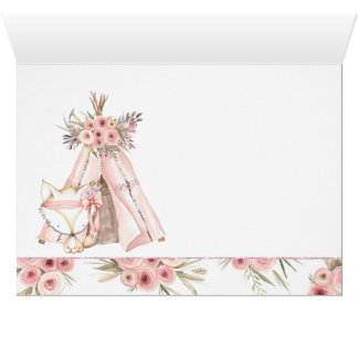 TeePee Fox Tribal Baby Shower Thank You Cards