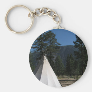 Teepee in the mountains basic round button keychain