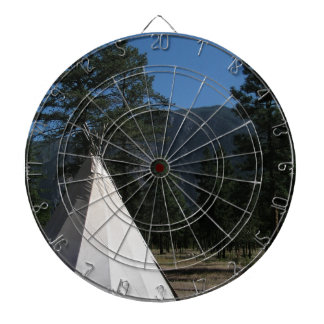Teepee in the mountains dartboard with darts