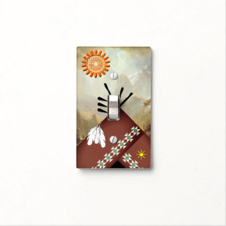 TeePee sun and feathers Light Switch Cover
