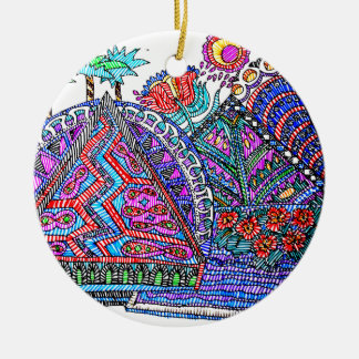 TEEPEE TOWN ROUND CERAMIC ORNAMENT