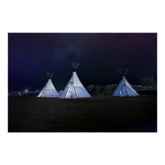 Teepees in a Midnight Sky Poster