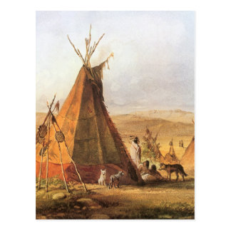 Teepees on Plain by Bodmer, Vintage American West Postcard