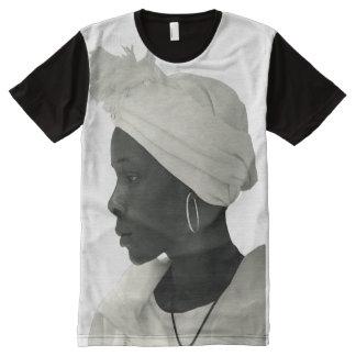 Teeshirt all over vintage black girl blanc