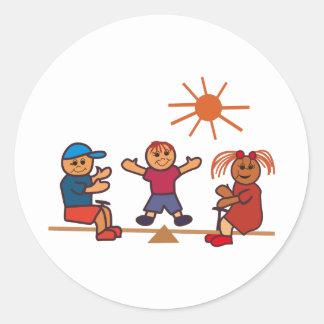 Teeter-Totter Kids Round Sticker