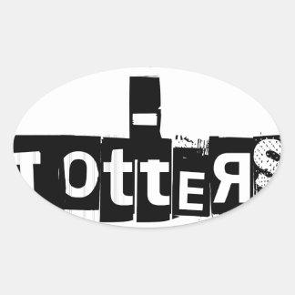 Teeter-Totters Rock Oval Sticker