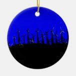 Tehachapi Wind Farm Silhouette Round Ceramic Ornament