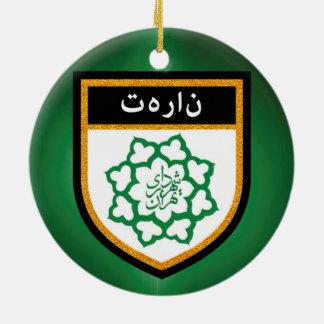 Tehran Flag Round Ceramic Ornament