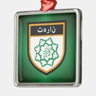 Tehran Flag Silver-Colored Square Ornament
