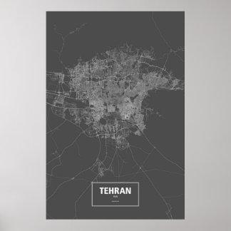 Tehran, Iran (white on black) Poster