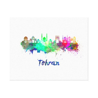 Tehran skyline in watercolor canvas print