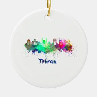 Tehran skyline in watercolor ceramic ornament