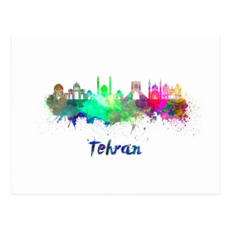 Tehran skyline in watercolor postcard