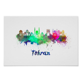 Tehran skyline in watercolor poster