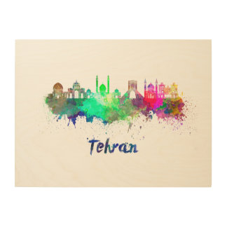 Tehran skyline in watercolor wood print