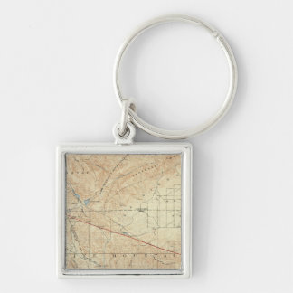 Tejon quadrangle showing San Andreas Rift Silver-Colored Square Keychain