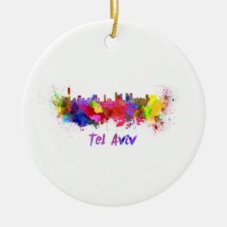 Tel Aviv skyline in watercolor Ceramic Ornament