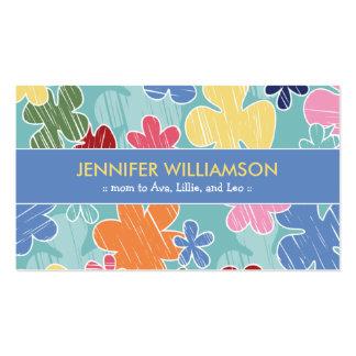 Télécarte de maman de croquis de crayon (bleue) carte de visite standard