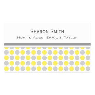 Télécartes grises jaunes de maman de motif de poin carte de visite