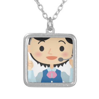 Telecom Worker Silver Plated Necklace
