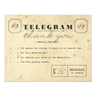 Telegram Thank You Note Card Personalized Invite