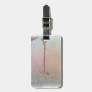telegraph pole reflection luggage tag
