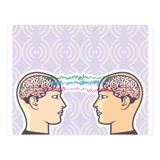 Telepathy Between Human Brains via Brainwaves Postcard