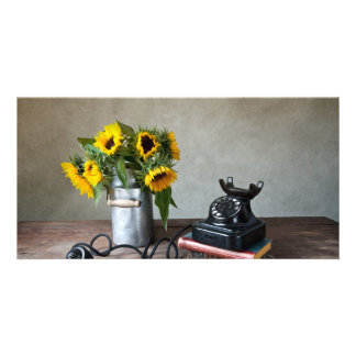 Telephone and Sunflowers Custom Photo Card