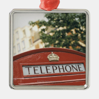 Telephone booth in London England Metal Ornament