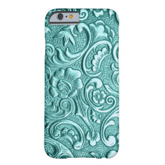 Téléphone de relief floral turquoise d'I Coque iPhone 6 Barely There