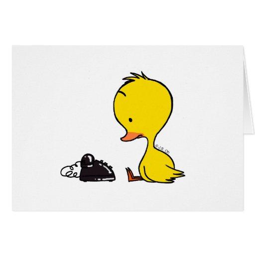 Telephone & Duck Greeting Card