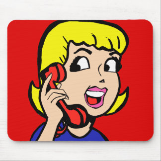Telephone Girl Comic Strip Mousepad
