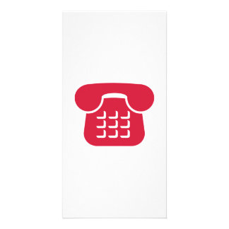 Telephone icon customized photo card