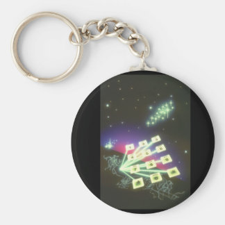 Telephone Pad over City._Space Scenes Basic Round Button Keychain