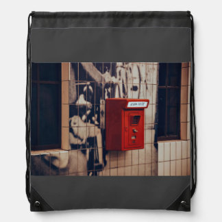 Telephone Themed, A Red Telephone Box For Public U Drawstring Backpacks