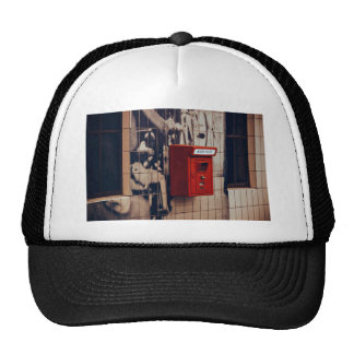 Telephone Themed, A Red Telephone Box For Public U Trucker Hat