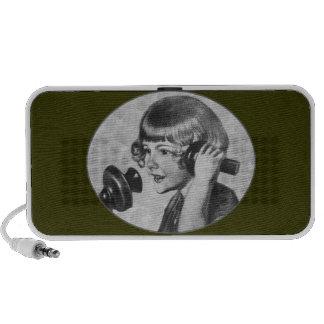 Téléphone vintage des années 1920 d'entretien de f mini haut-parleurs