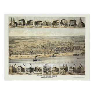 Tell City, IN Panoramic Map - 1870's Poster
