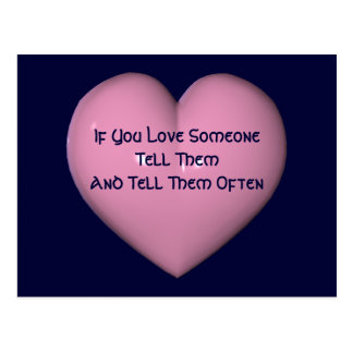 Tell Them You Love Them Pink Heart Postcard