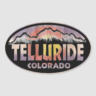 Telluride Colorado wood flag oval stickers