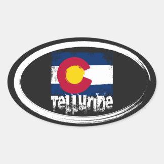 Telluride Grunge Flag Oval Sticker
