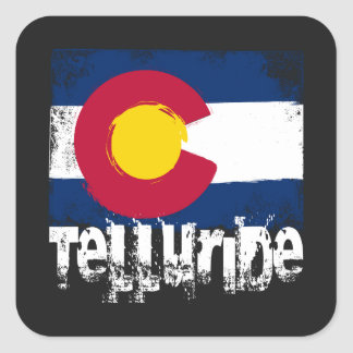 Telluride Grunge Flag Square Sticker