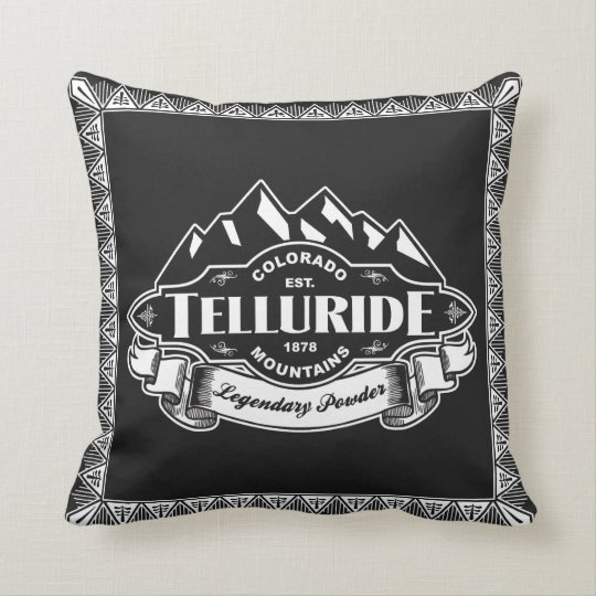Telluride Mountain Emblem Throw Pillow